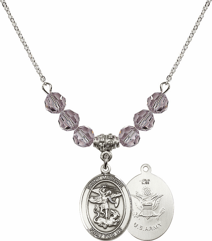 St Michael Army Lt Amethyst Swarovski Necklace by Bliss Mfg