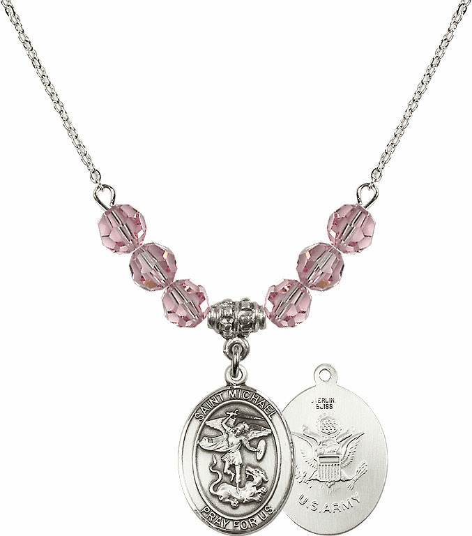 St Michael Army Lt Rose Swarovski Necklace by Bliss Mfg