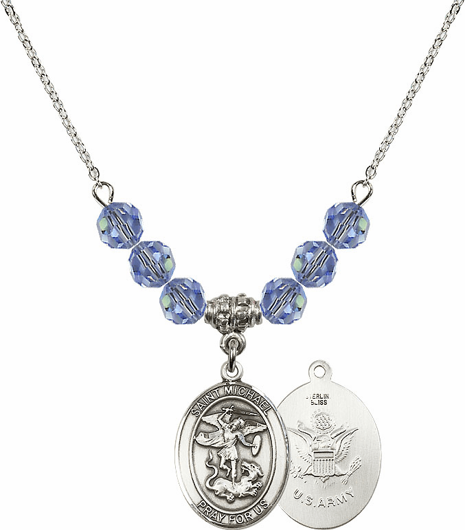 St Michael Army Lt Sapphire Swarovski Necklace by Bliss Mfg