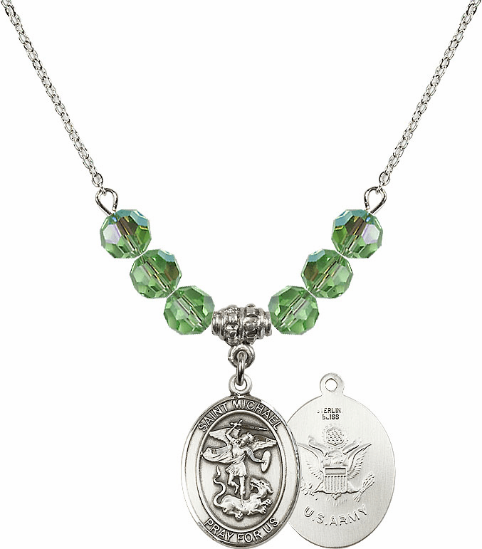 St Michael Army Peridot Swarovski Necklace by Bliss Mfg