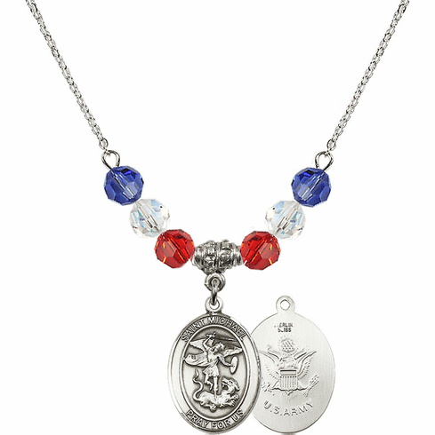 St Michael Army Red, White and Blue Swarovski Necklace by Bliss Mfg