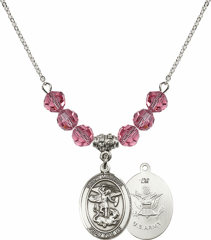 St Michael Army Rose Swarovski Necklace by Bliss Mfg