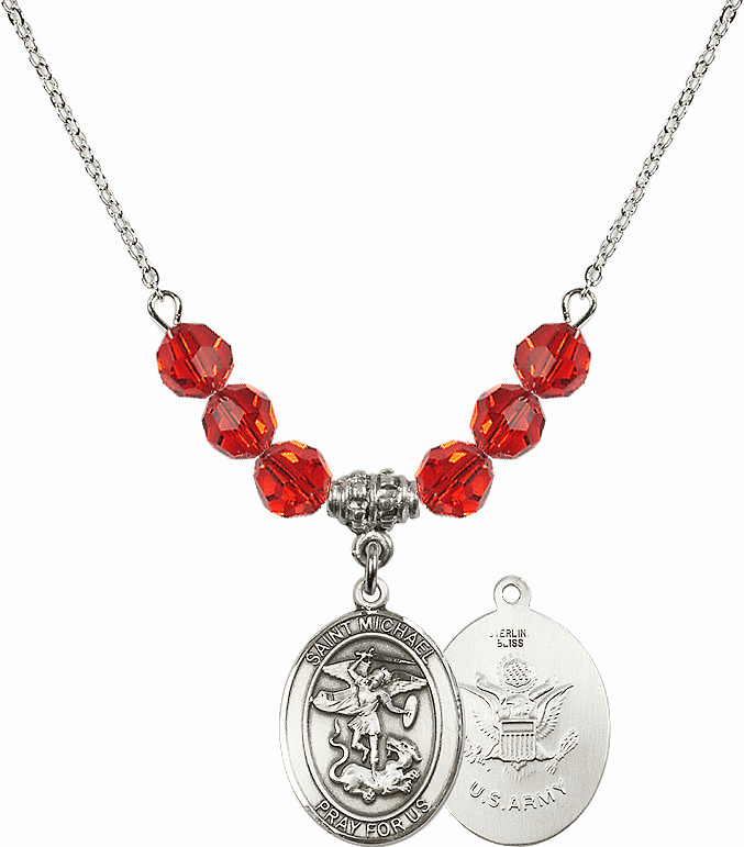 St Michael Army Ruby Swarovski Necklace by Bliss Mfg