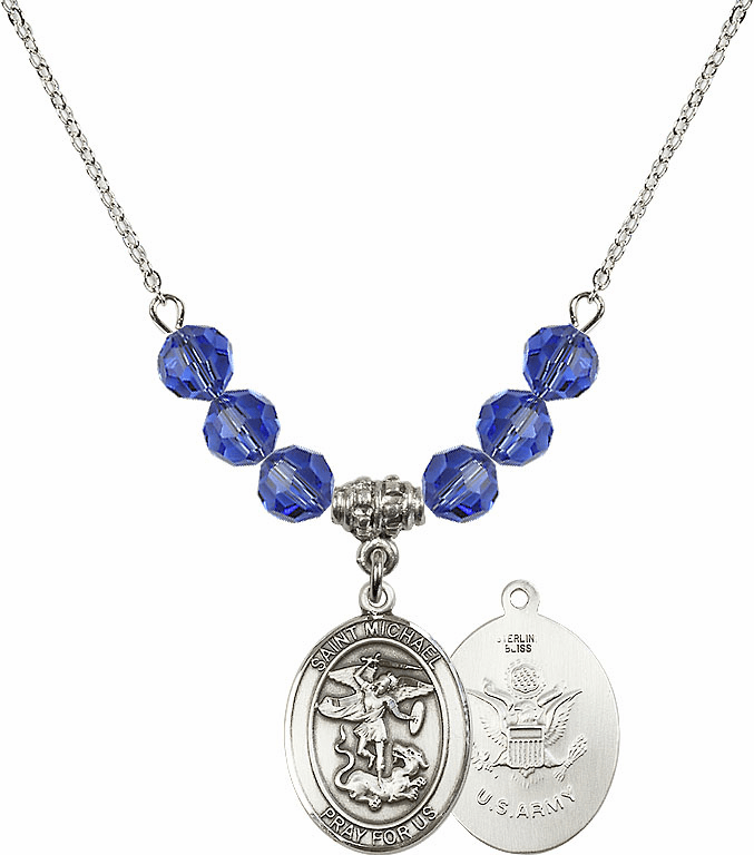 St Michael Army Sapphire Swarovski Necklace by Bliss Mfg