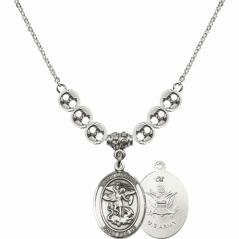 St Michael Army Silver Necklace by Bliss Mfg