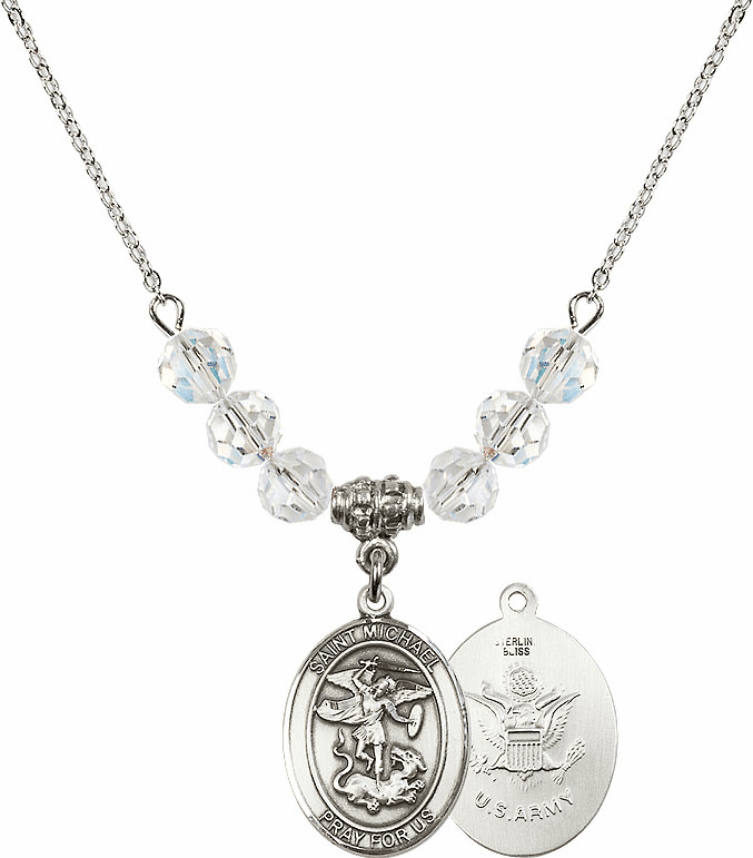 St Michael Army Swarovski Necklace by Bliss Mfg