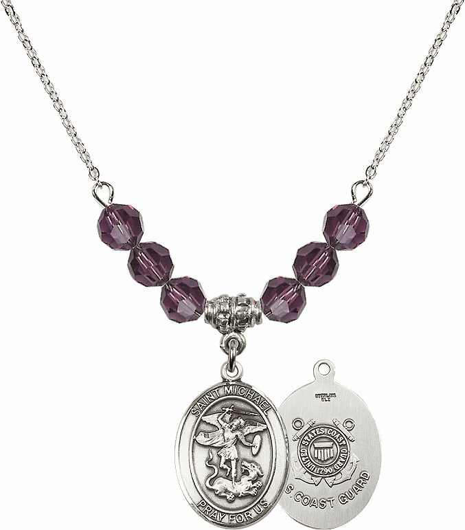 St Michael Coast Guard Amethyst Swarovski Necklace by Bliss Mfg