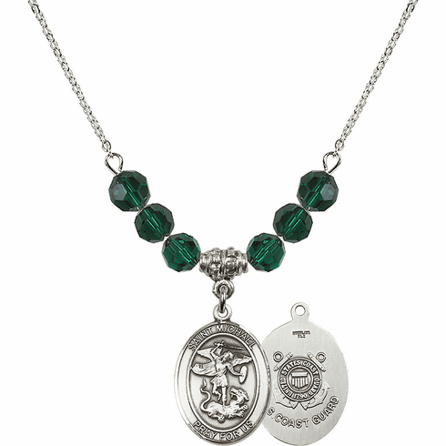 St Michael Coast Guard Emerald Swarovski Necklace by Bliss Mfg