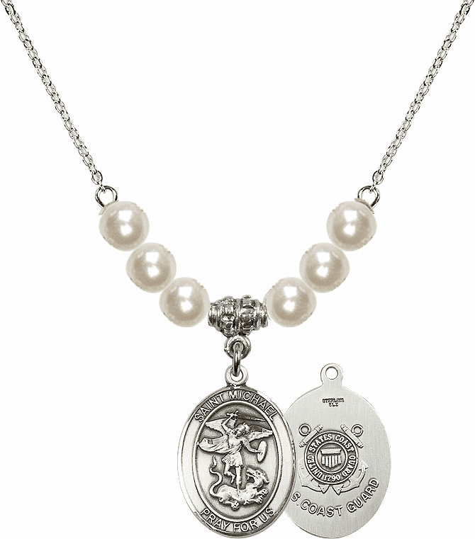 St Michael Coast Guard Faux Pearl Necklace by Bliss Mfg