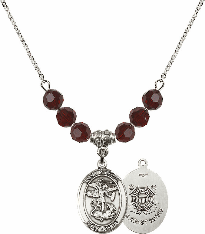 St Michael Coast Guard Garnet Swarovski Necklace by Bliss Mfg