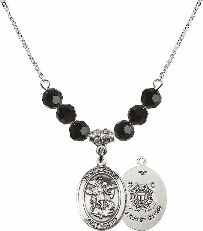 St Michael Coast Guard Jet Black Swarovski Necklace by Bliss Mfg