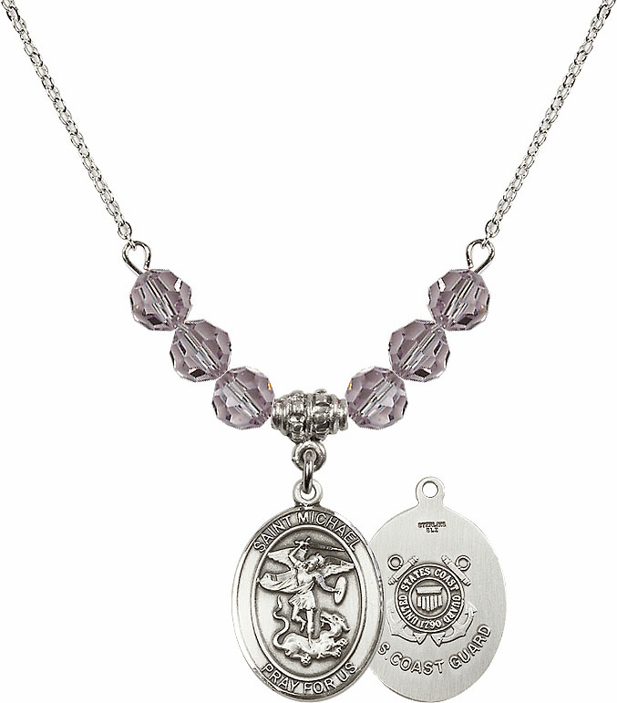St Michael Coast Guard Lt Amethyst Swarovski Necklace by Bliss Mfg