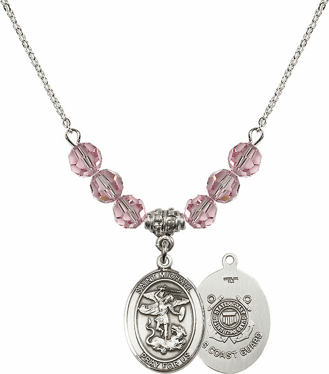 St Michael Coast Guard Lt Rose Swarovski Necklace by Bliss Mfg