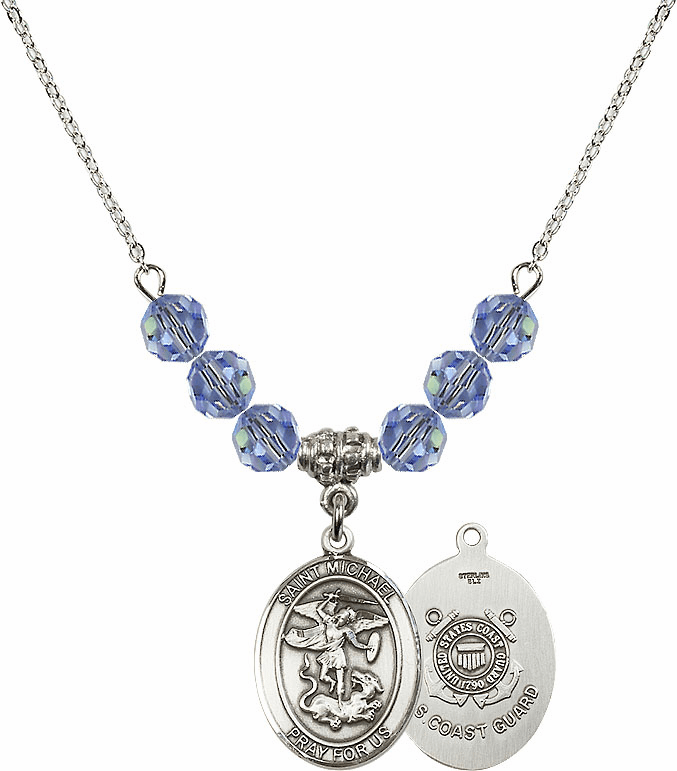 St Michael Coast Guard Lt Sapphire Swarovski Necklace by Bliss Mfg