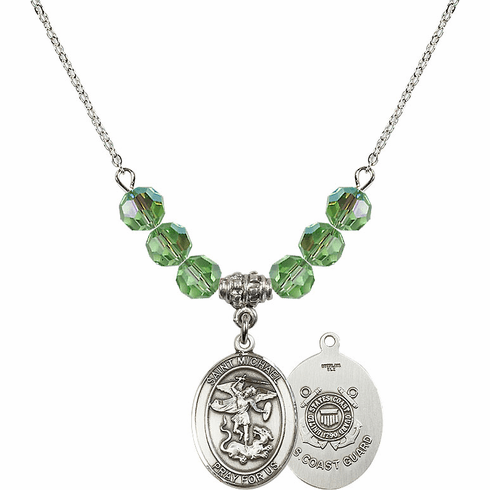 St Michael Coast Guard Peridot Swarovski Necklace by Bliss Mfg