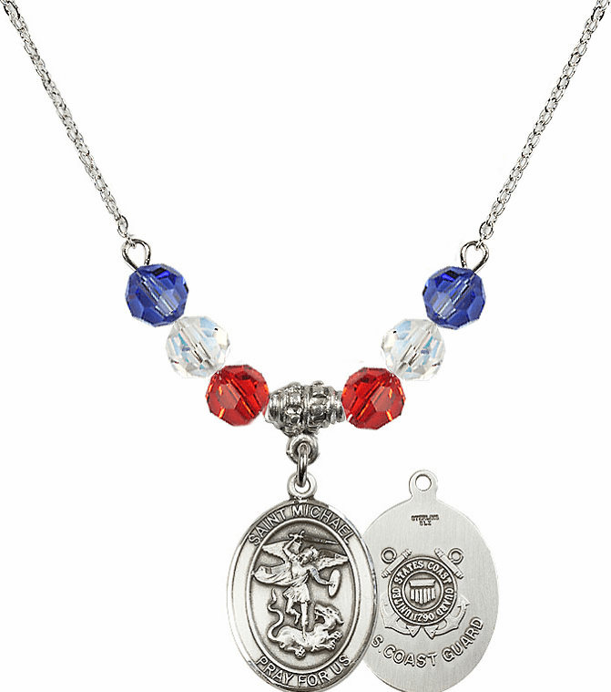St Michael Coast Guard Red, White and Blue Swarovski Necklace by Bliss Mfg