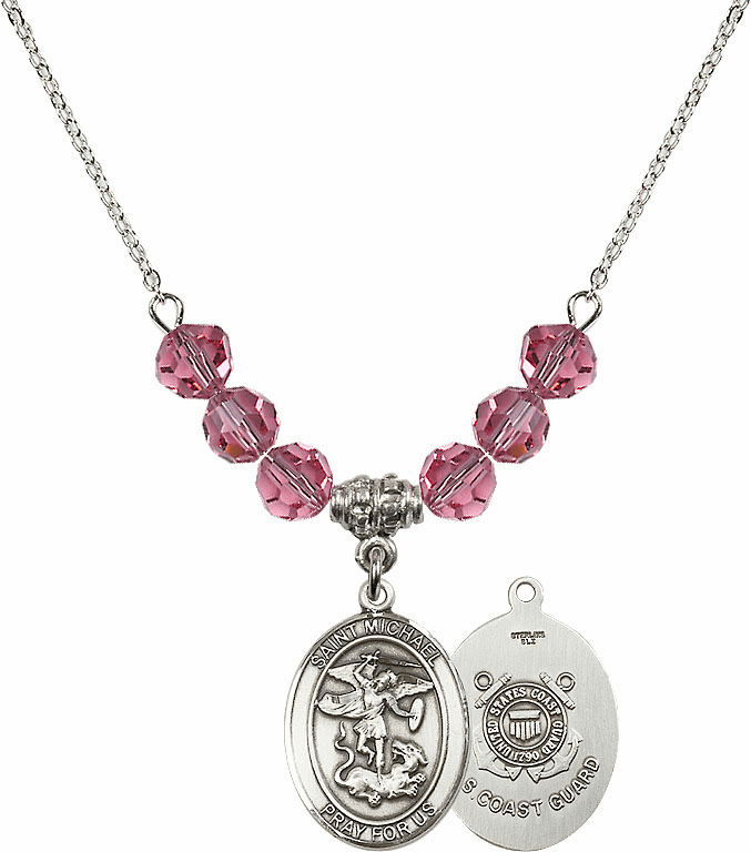 St Michael Coast Guard Rose Swarovski Necklace by Bliss Mfg