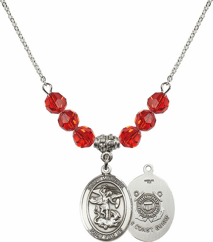 St Michael Coast Guard Ruby Swarovski Necklace by Bliss Mfg