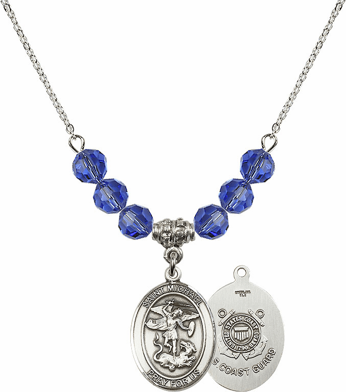 St Michael Coast Guard Sapphire Swarovski Necklace by Bliss Mfg