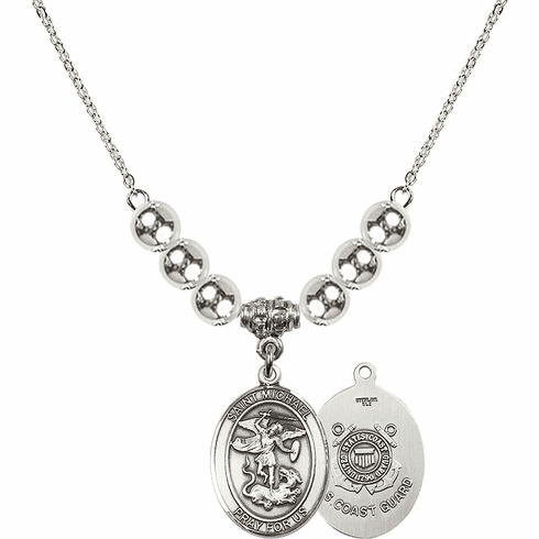 St Michael Coast Guard Silver Necklace by Bliss Mfg