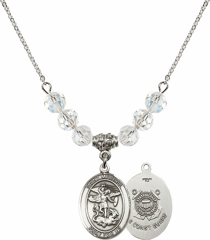 St Michael Coast Guard Swarovski Necklace by Bliss Mfg