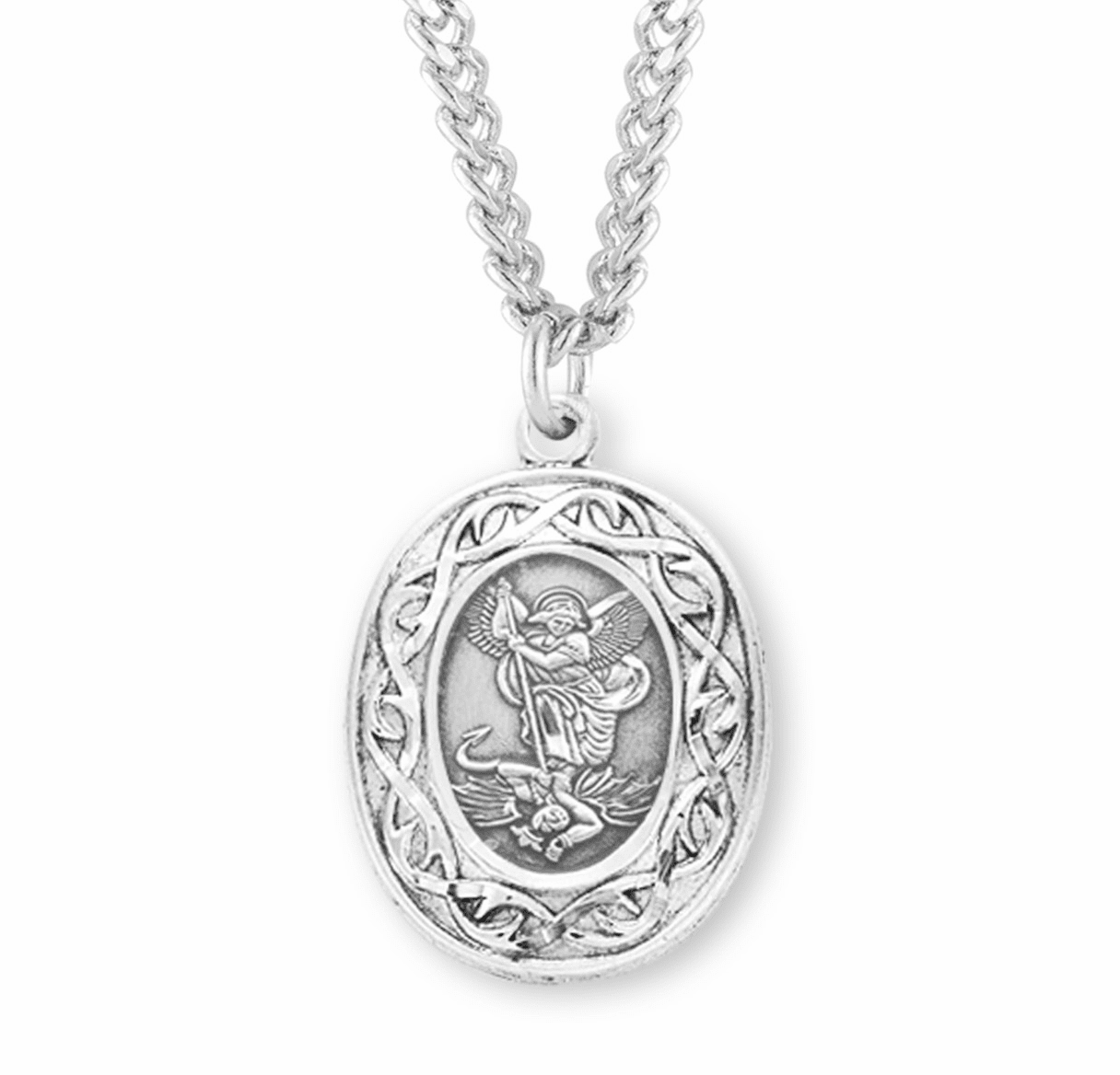 St Michael Crown of Thorns Medal Necklace by HMH Religious