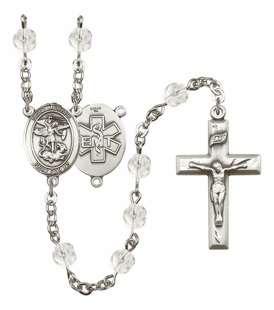 St Michael EMT Birthstone Crystal Prayer Rosary by Bliss