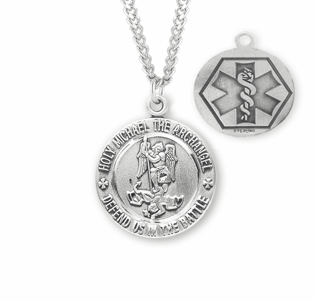 St Michael EMT Sterling Silver Medal Necklace by HMH Religious