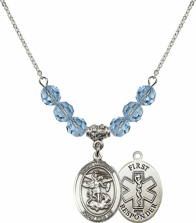 St Michael First Responders Aqua Swarovski Necklace by Bliss Mfg