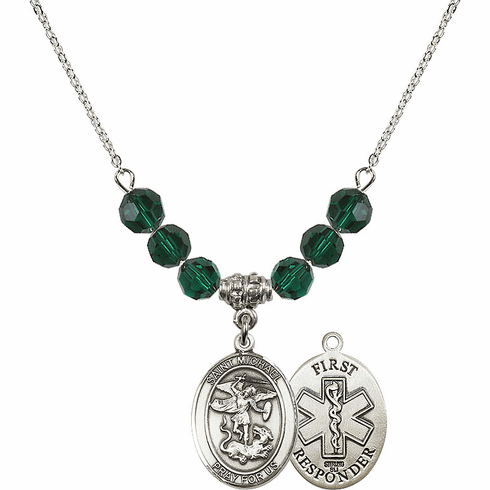 St Michael First Responders Emerald Swarovski Necklace by Bliss Mfg