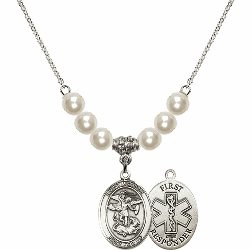 St Michael First Responders Faux Pearl Necklace by Bliss Mfg