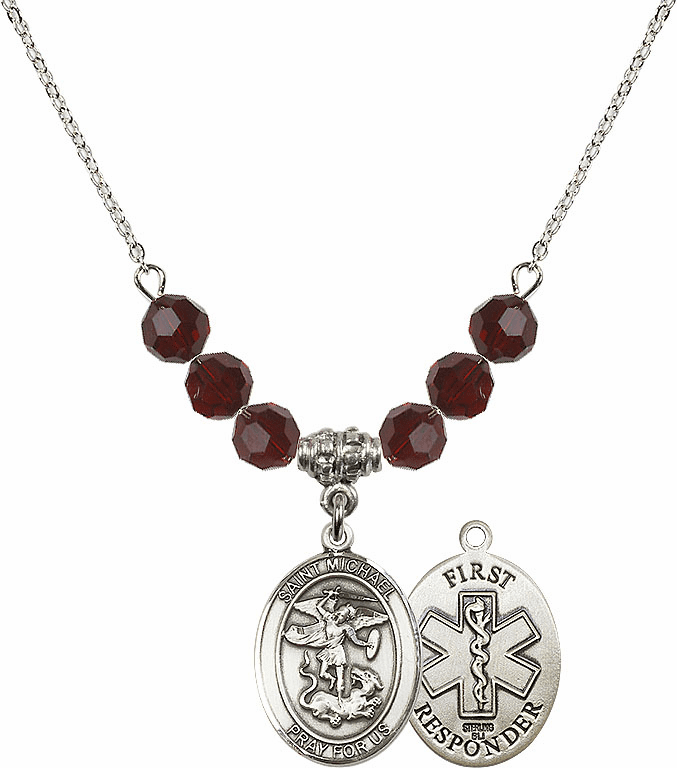 St Michael First Responders Garnet Swarovski Necklace by Bliss Mfg