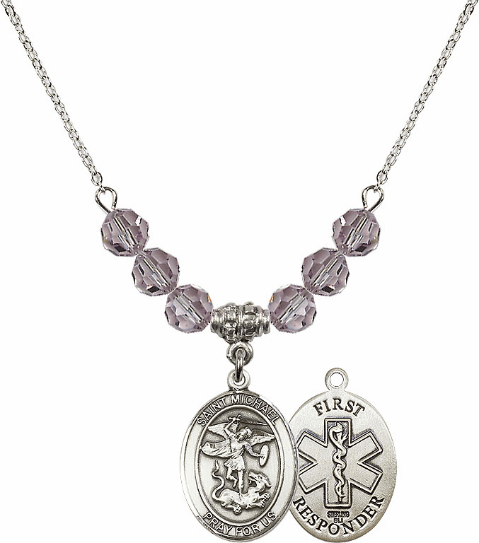 St Michael First Responders Lt Amethyst Necklace by Bliss Mfg
