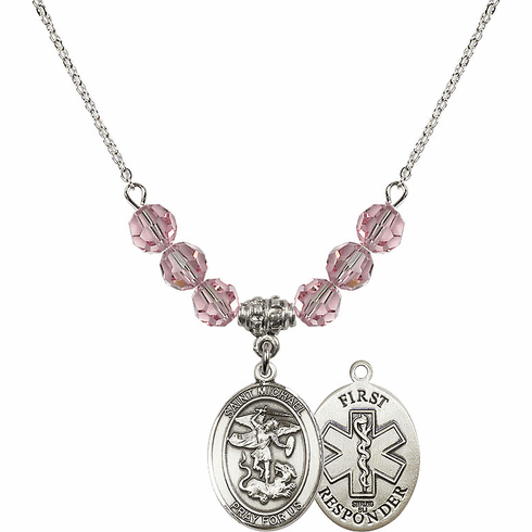 St Michael First Responders Lt Rose Swarovski Necklace by Bliss Mfg