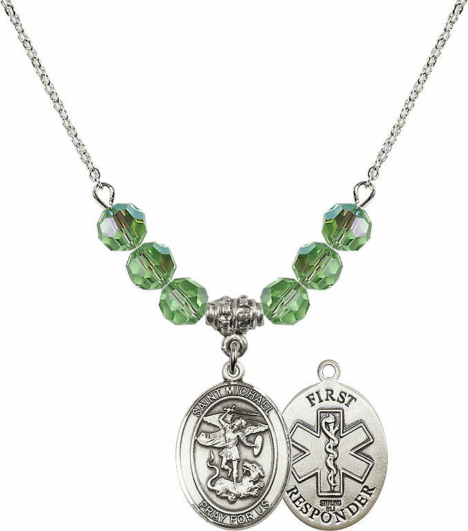 St Michael First Responders Peridot Swarovski Necklace by Bliss Mfg