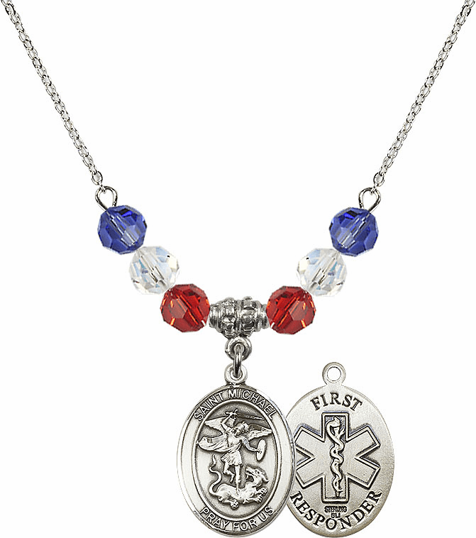 St Michael First Responders Red, White & Blue Patriot Swarovski Necklace by Bliss Mfg