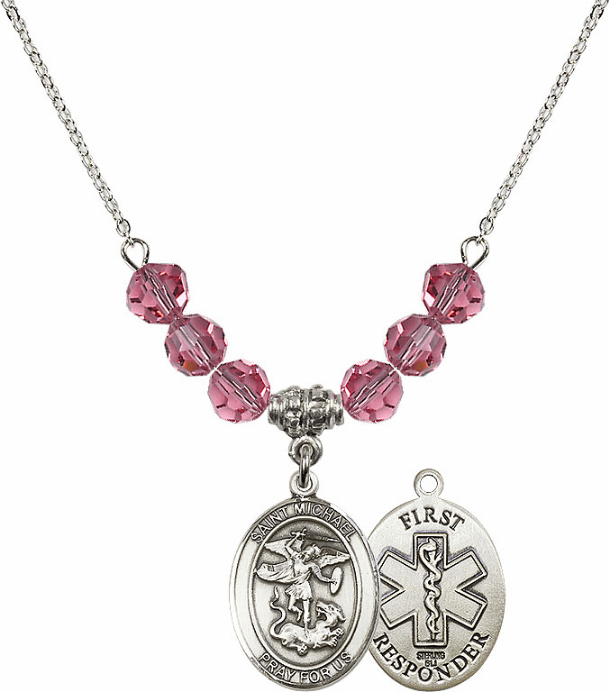 St Michael First Responders Rose Swarovski Necklace by Bliss Mfg