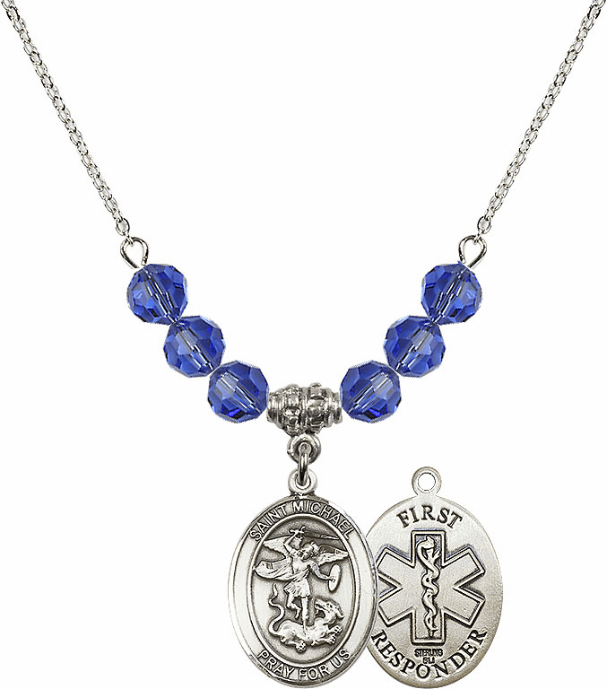 St Michael First Responders Sapphire Swarovski Necklace by Bliss Mfg