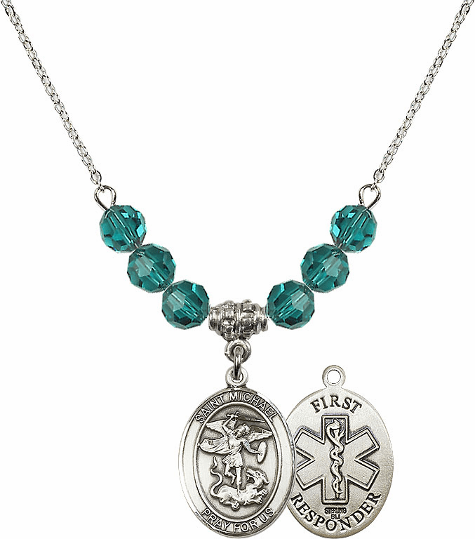 St Michael First Responders Zircon Necklace by Bliss Mfg