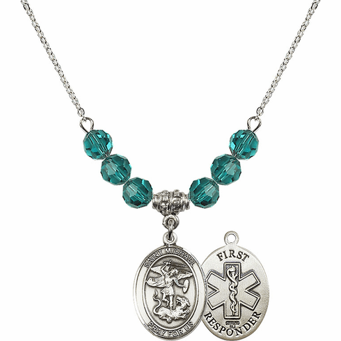 St Michael First Responders Zircon Swarovski Necklace by Bliss Mfg