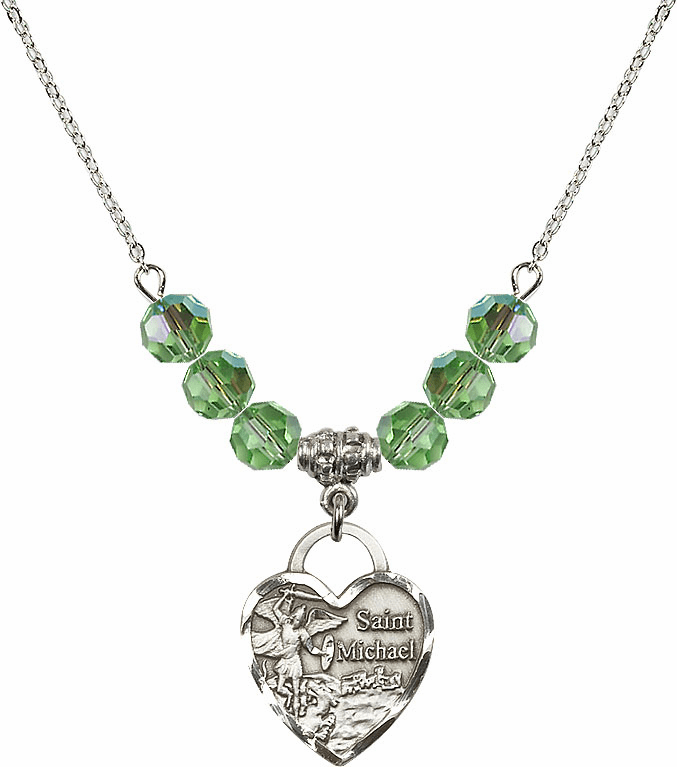 St Michael Heart August Peridot Swarovski Crystal Necklace by Bliss Mfg