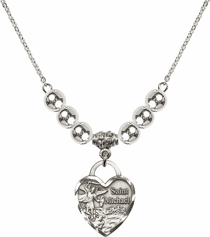 St Michael Heart Charm w/6mm Silver Beaded Necklace by Bliss Mfg