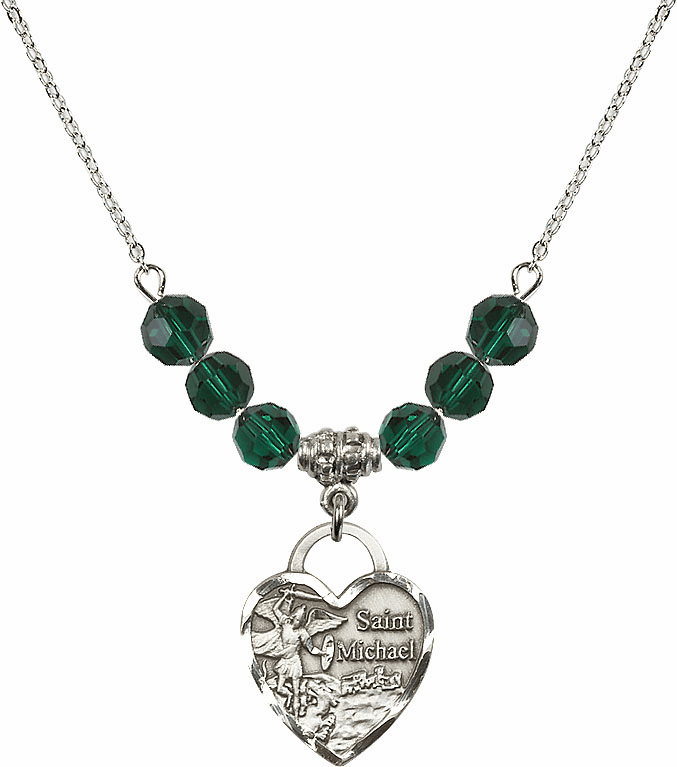 St Michael Heart May/Emerald Swarovski Crystal Necklace by Bliss