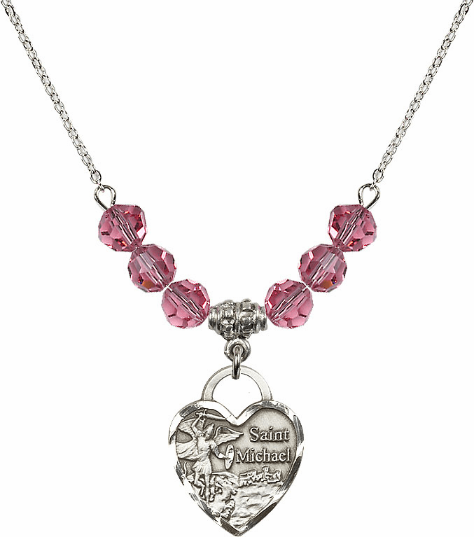 St Michael Heart October Rose Swarovski Crystal Necklace by Bliss