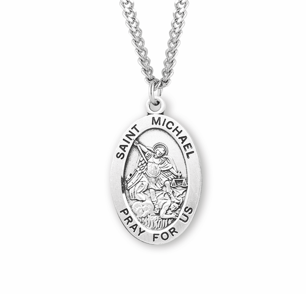 St Michael Large Oval Sterling Silver Saint Medals by HMH Religious