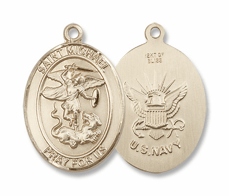 St Michael Military 14kt Gold Medals