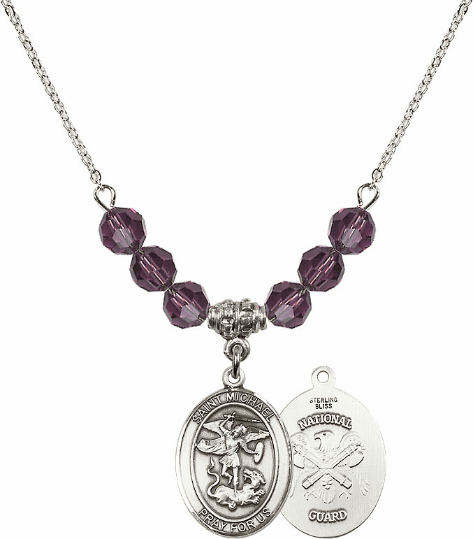 St Michael National Guard Amethyst Swarovski Necklace by Bliss Mfg