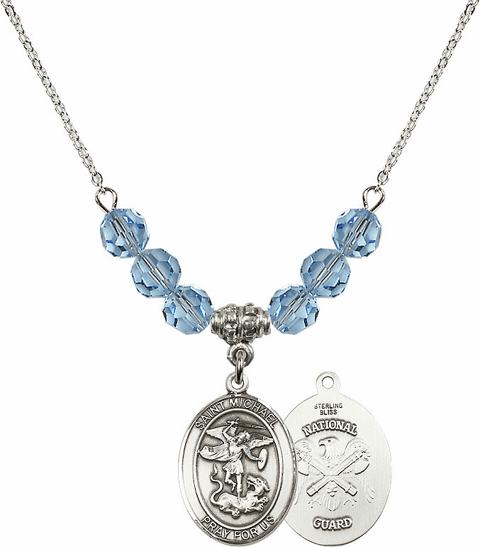 St Michael National Guard Aqua Swarovski Necklace by Bliss Mfg
