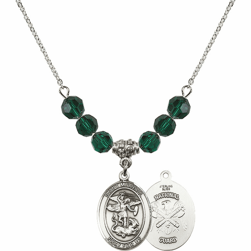 St Michael National Guard Emerald Swarovski Necklace by Bliss Mfg