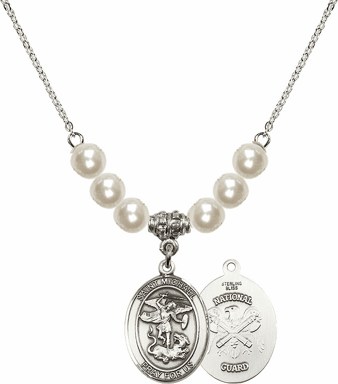 St Michael National Guard Faux Pearl Necklace by Bliss Mfg